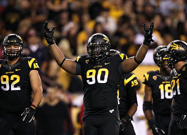 The junior defensive lineman put together a huge 2012 campaign, highlighted by 23.5 tackles for loss, the second most nationally. Sutton also recorded 13 sacks and three forced fumbles en route to earning Pac-12 Defensive Player of the Year honors. He'll look to lead the Sun Devils' defense -- which ranked 27th in the FBS in total defense last season -- to even greater heights in 2013.
