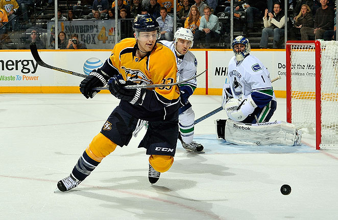 Colin Wilson, Nashville's top scorer this season with 19 points, was hurt against the Wild on Saturday.