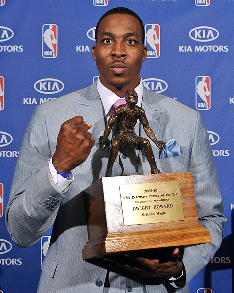 "Howard became the first player to lead the the league in blocks and rebounds in consecutive seasons en route to the 2010 Defensive Player of the Year award. ""I think most people look at Most Valuable Player as somebody who scores a lot of points, which is great. I believe that defense wins championships, wins games,"" he said."