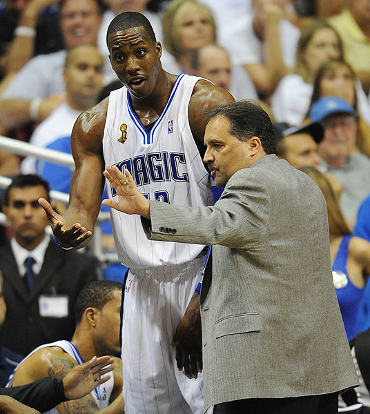 "Days after a Game 5 second-round loss to the Celtics in which he took only 10 shots, Howard called out coach Stan Van Gundy, saying, ""You got a dominant player, let him be dominant."" Van Gundy compared the comments to an argument with his wife. ""When she gets on me for something, my first reaction is to blame someone else,"" he said, ""But when you step back and look at it, I usually realize the person who's been on me has a point. And then it's time to step up and do the job."" And step up Howard did, forcing a decisive Game 7 by going for 23 points and 22 rebounds in Game 6. Orlando defeated Boston in Game 7 to advance to face the Cavs in the Eastern Conference finals."