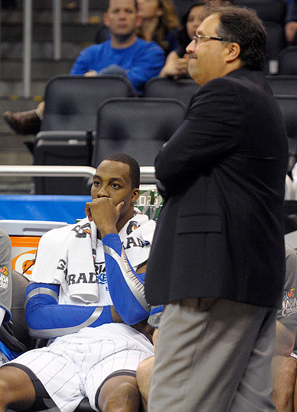 "In a bizarre press conference, coach Stan Van Gundy confirmed a report that Howard was pushing for him to be fired -- only to have Howard walk into the media scrum moments later. Who are your sources, Howard asked when reporters presented Van Gundy's accusations to him. ""Whatever happens at the end of the season is not under my control. I am a player for the Magic. I am not the GM,"" Howard said. ""I haven't said anything to anybody about anything."" Van Gundy was fired a little more than a month later."