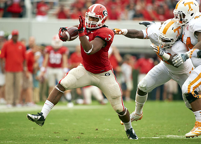 Following a monstrous freshman season in which he led all SEC running backs in rushing yards, Gurley returns to Athens alongside counterpart Keith Marshall. Marshall's productivity may limit Gurley's touches, but that didn't stop the latter from putting up huge numbers last year; Gurley carried 222 times for 1,385 yards and 17 touchdowns. This is perhaps most telling: Alabama's defense allowed just 76.4 rushing yards per game last season, but Gurley still torched the Tide for 122 yards and two scores in the SEC Championship Game.