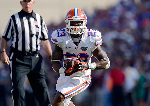 Gillislee shot up the draft boards after a huge senior season. Buried on the depth chart for his first three years, he had 1,152 rushing yards and 10 touchdowns in 2012. Gillislee further helped his draft stock by gaining 4.6 yards per carry in the Senior Bowl. He's adept at picking up blitzes, too. The Florida senior does suffer sometimes from indecisiveness on carries and bounces to the outside a little too frequently.