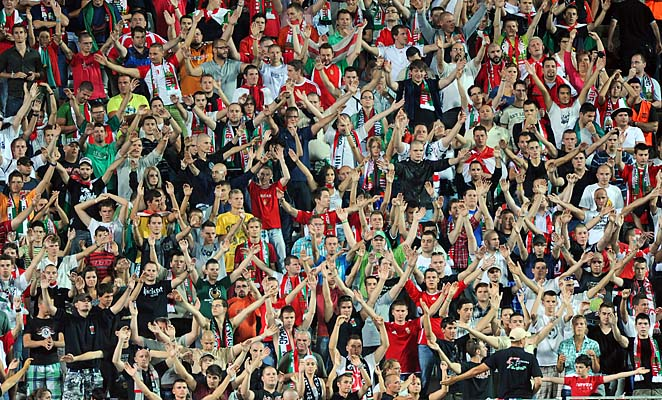 Hungary fans celebrate during a friendly with Israel in August, where some fans voiced anti-Semitic chants.