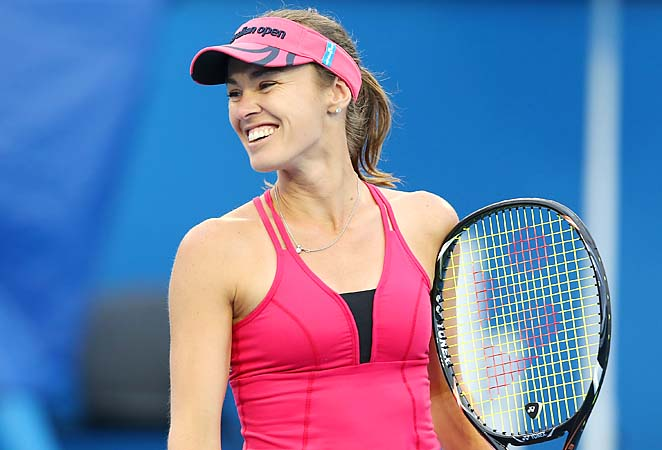 Martina Hingis played legends doubles with Martina Navratilova at the Australian Open.