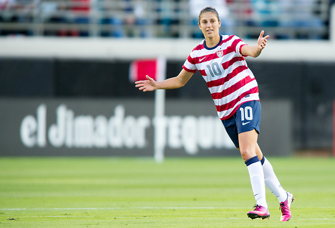 Carli Loyd could be out for up to two months with a shoulder injury. Lloyd scored both goals for the United States in their 2-1 victory in the gold medal game of the 2012 Olympics.