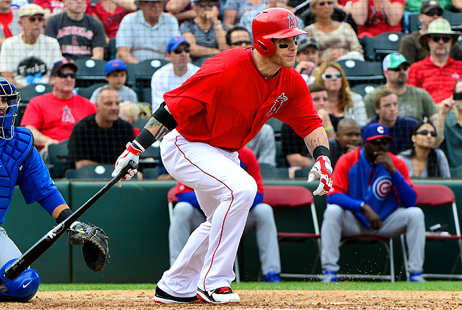 Slugger Josh Hamilton will join Rookie of the Year Mike Trout on the field in Los Angeles this season.