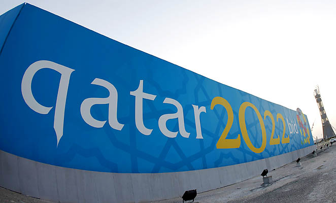 A banner for Qatar's 2022 bid to host the World Cup is seen near Aspire athletics zone in Doha.