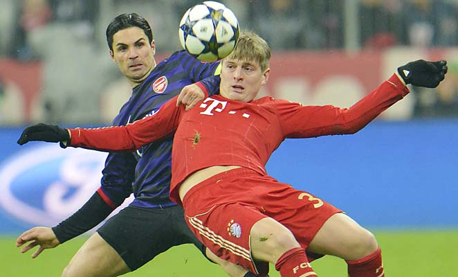 Toni Kroos (red) and Bayern Munich will learn their Champions League quarterfinal opponent on Friday.