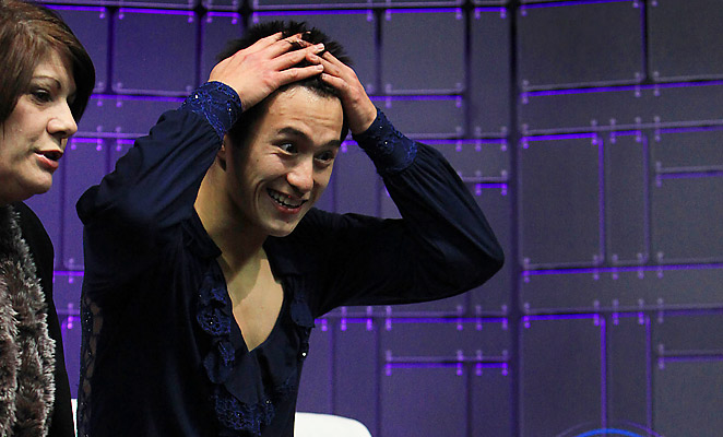 Patrick Chan was shocked upon seeing his world record-setting score of 98.37 in the short program.