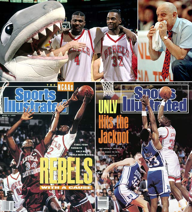 "The Runnin' Rebels took exception to the media's portrayal of them as thugs and took on an ""us against the world"" mentality. That fire drove them to manhandle opponents throughout the tournament, putting up three 30-point victories, including the only championship game to hit the century mark in a 103-73 embarrassment of Duke."