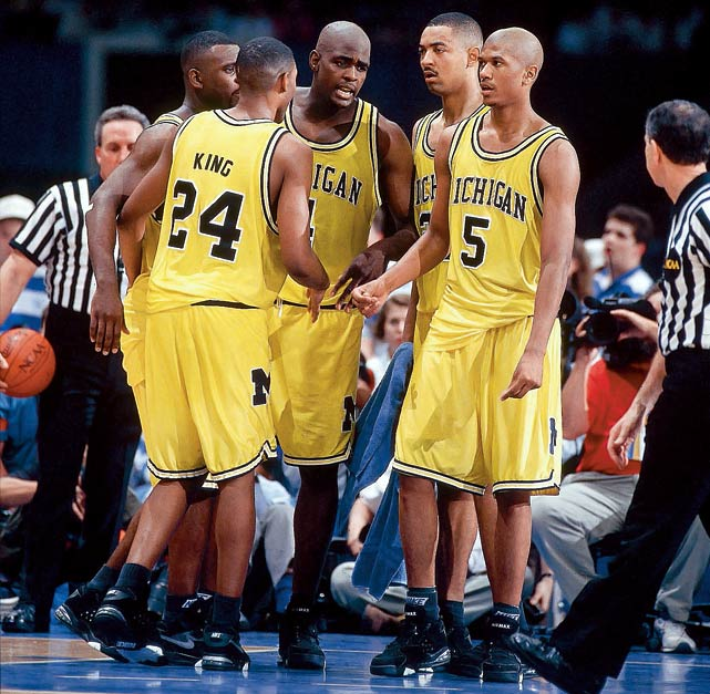 Despite back-to-back championship appearances by the Fab Five as freshmen and sophomores, the 1993 Wolverines would be defined by one infamous error. Trailing North Carolina by two with 11 seconds left in the final, Chris Webber called for a timeout his team didn't have, bringing an ignominious end to one of the greatest recruiting classes in college basketball.