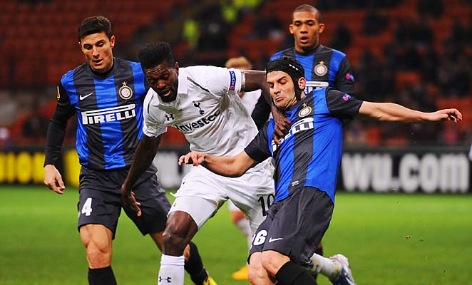 Emmanuel Adebayor scored Spurs' only goal at Inter Milan, enough to advance with a 4-1 loss.