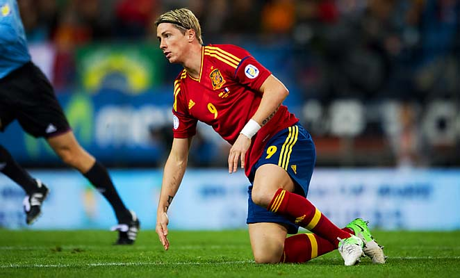 Fernando Torres and Spain are tied with France at seven points atop their group.