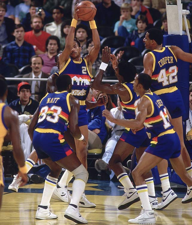 "The Nuggets wore ""rainbow"" road jerseys for nearly a decade."