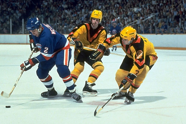 "The Canucks made uniform history with these duds, which featured no logo and a ""V"" starting at the collar."