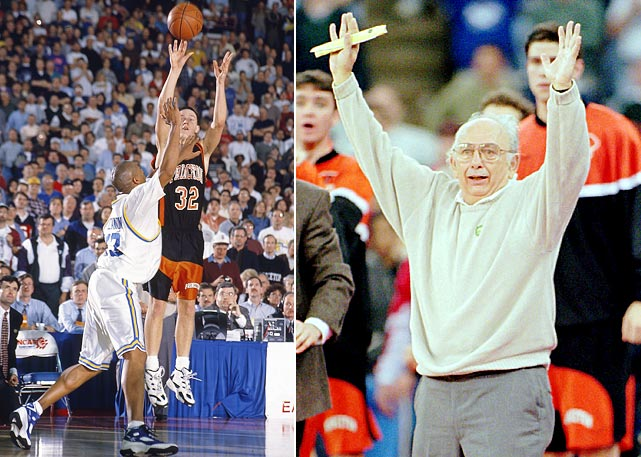 Pete Carril watched his system come to fruition in his last year as Princeton coach, with his Tigers putting an end to UCLA's title defense in the first round. The game-winner came from Gabe Lewullis with just 3.9 seconds left to sink the Bruins in dramatic fashion, 43-41.
