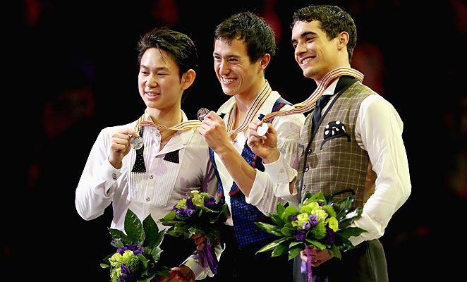 Denis Ten (left), Patrick Chan (center) and Javier Fernandez (right) won top honors at the 2013 World Figure Skating Championships.