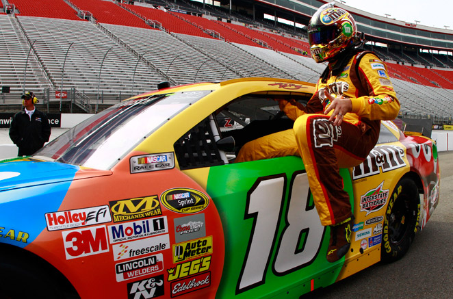Kyle Busch broke Ryan Newman's 10-year-old track record at the Bristol Motor Speedway on Friday.
