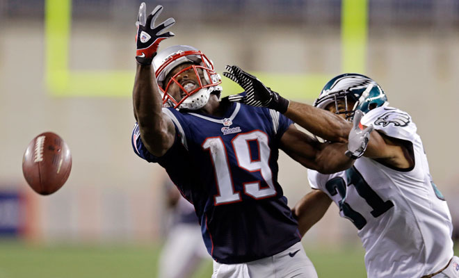 Donte Stallworth played one game with the Patriots in 2012 before suffering an ankle injury.