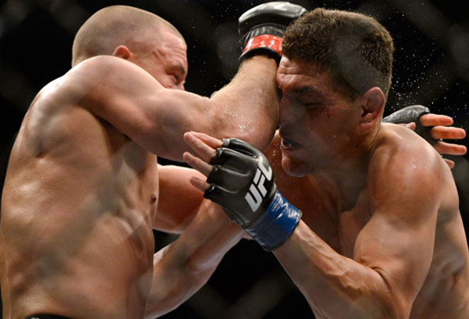 Georges St-Pierre dominated Nick Diaz for five rounds to retain his UFC welterweight belt.