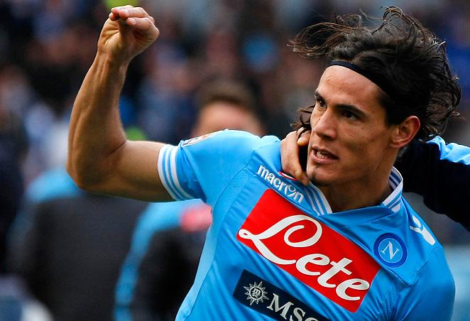 Napoli's Edinson Cavani celebrates a goal during his club's 3-2 win over Atalanta on Sunday.