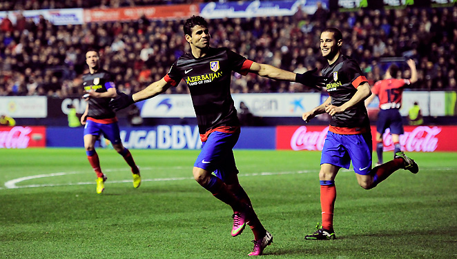 Atletico Madrid's Diego Costa scored twice in hostile confines at Osasuna en route to a 2-0 win.
