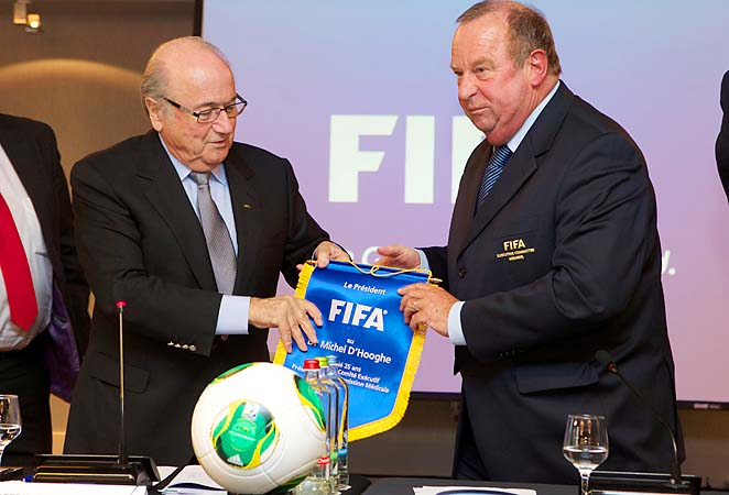 FIFA Chairman Sepp Blatter (left) and FIFA Medical Commission Chairman Michel D'Hooghe pose at a press conference last week.