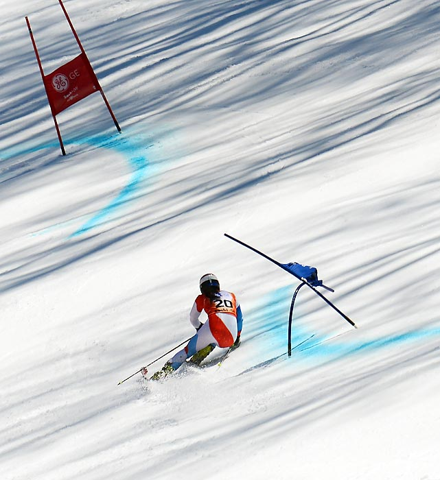 Jasmina Suter bends around a gate in the ladies' giant slalom at the FIS Alpine Skiing European Cup Finals on March 14 in Sochi, Russia. Suter won the silver medal in the competition, held in the same city that will host the 2014 Winter Olympics.