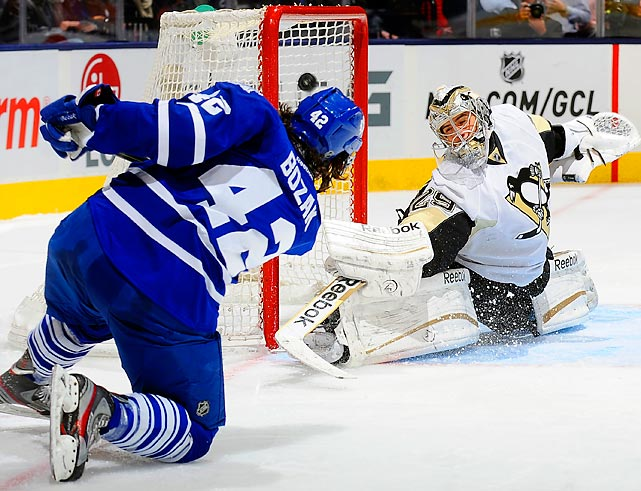 Toronto Maple Leafs center Tyler Bozak proves he doesn't need his skates to score, beating Pittsburgh Penguins goaltender Marc-Andre Fleury from his knees in the second period on March 14. Bozak's goal was the only time the Maple Leafs got a shot past Fleury as Pascal Dupuis scored twice in the third period for the Penguins to lead Pittsburgh to a 3-1 win.