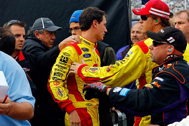 Joey Logano felt compelled to have a frank exchange of views with Denny Hamlin at Bristol on Sunday.