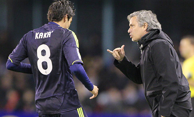 Real Madrid coach Jose Mourinho instructs Kaka during a recent La Liga match.