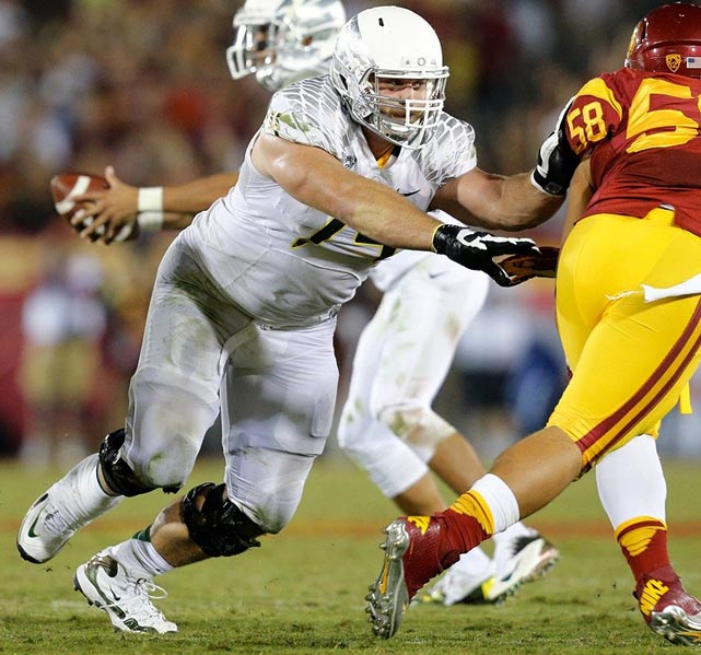 Long's road to the NFL has been lengthy and short at the same time. The Florida State pitcher-turned-dropout-turned-junior-college-defensive-end spent just one year in Eugene as an offensive tackle, a position switch he made in his second year at Saddleback Community College. That one year of FBS football was all that was needed to send Long shooting up the draft boards, and he should become the third member of his family in the NFL -- his father, Howie, is in the Hall of Fame, and his brother, Chris, plays defensive end for the Rams. Long is still raw but has the size and athleticism to be an elite player.