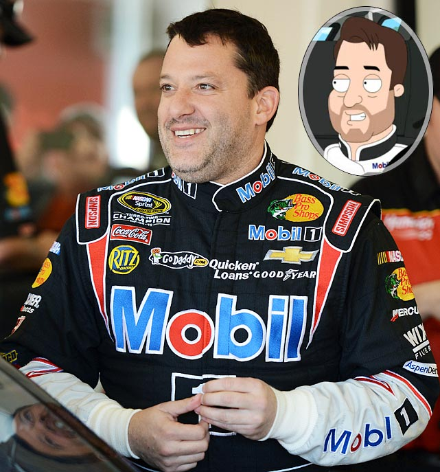 """Episode: The Hangover: Part Tubbs First aired: March 17, 2013 <underline>Memorable Moment</underline> <italics>Tony Stewart and Dale Earnhardt, Jr. each pull up to Stoolbend High School after racing to get Cleveland and his wife Donna to her school board debate.</italics> <bold>Earnhardt, Jr.</bold>: """"So which one of us won?!"""" <bold>Stewart</bold>: """"I'll tell you who won. The children of Stoolbend, because there's nothin' more important than a public debate about the issues confronting educators in a shrinking economy."""" <bold>Earnhardt, Jr.</bold>: """"You wanna do donuts in the parking lot?!"""" <bold>Stewart </bold><italics>(sarcastically)</italics>: """"No, I wanna go read a book."""" <bold>Stewart</bold>: """"Of course I wanna do donuts in the parking lot."""