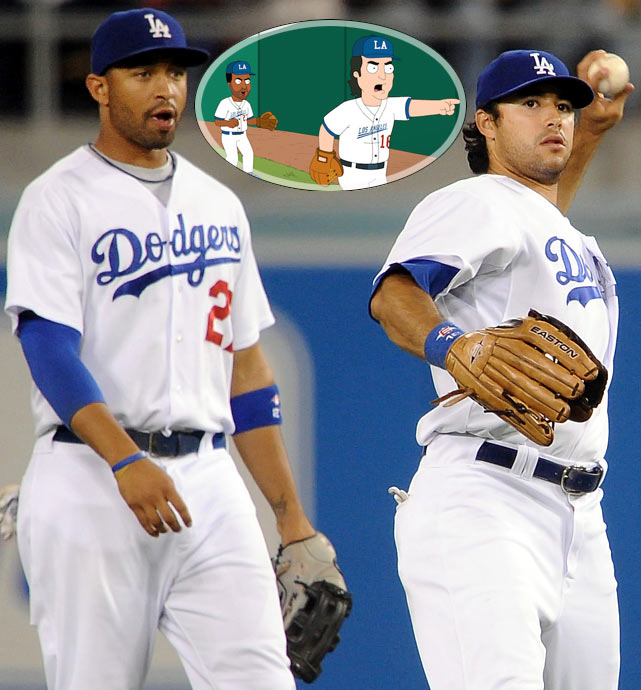 """Episode: California Dreamin' (All the Cleves are Brown) First aired: March 17, 2013 <underline>Memorable Moment</underline> <italics>Cleveland walks onto the field at Dodger Stadium after arriving as the team's new scout. After he picks up a ball in the outfield grass, he notices Andre Ethier standing in the field.</italics> <bold>Cleveland</bold>: """"Andre Ethier?! Here you go!"""" <italics>Cleveland tosses him the ball.</italics> <bold>Ethier</bold>: """"Heh hey! Aren't you a little old to be a rookie?!"""" <italics>Ethier tosses the ball back to Cleveland.</italics> <bold>Cleveland</bold>: """"Rookie? I don't think so Ethier. Comin' atcha Matt Kemp!"""" <italics>Cleveland tosses the ball to Kemp.</italics> <bold>Kemp</bold>: """"Hey, he just needs to know if he should be worried about his (<italics>winking</italics>) job!"""" <bold>Cleveland</bold>: """"Ha ha."""" <italics>The ball is thrown back to Cleveland but it hits him in the shin.</italics> <bold>Cleveland</bold>: """"Ow! Son of a bitch! I'll sue you!"""" <bold>Ethier</bold>: """"Get him!"""" <bold>Kemp</bold>: """"Get him!"""" <bold>Ethier</bold>: """"Get him!"""" <bold>Kemp</bold>:<bold> """"</bold>Get that fat man off the field!"""" <bold>Ethier</bold>: """"Get that fat fool!"""" <italics>Two security guards tackle Cleveland to the ground. The Dodgers coach stands over Cleveland.</italics> <bold>Coach</bold>: """"Damn drunk fans, always runnin' on the field durin' games."""" <italics>The camera pans out to reveal there is actually a ball game taking place.</italics>"""