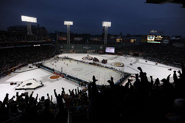 The crowd went home happy when Marco Sturm scored at 1:57 of overtime to give the Bruins a 2-1 win.