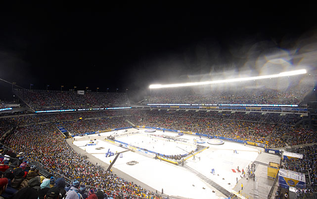 Fears about warm, inclement weather came to pass at Heinz Field in Pittsburgh as rain postponed the start of the Capitals-Penguins game from 1 p.m. ET to 8 p.m.