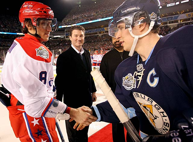 """The game offered a marquee matchup of rivals: Washington's Alex Ovechkin and Pittsburgh's Sidney Crosby, who didn't mind the delay in getting started. """"I don't see anything wrong with playing under the lights here,"""" he said. """"I think that'd be pretty nice. We should all be enjoying ourselves no matter what the scenario."""""""