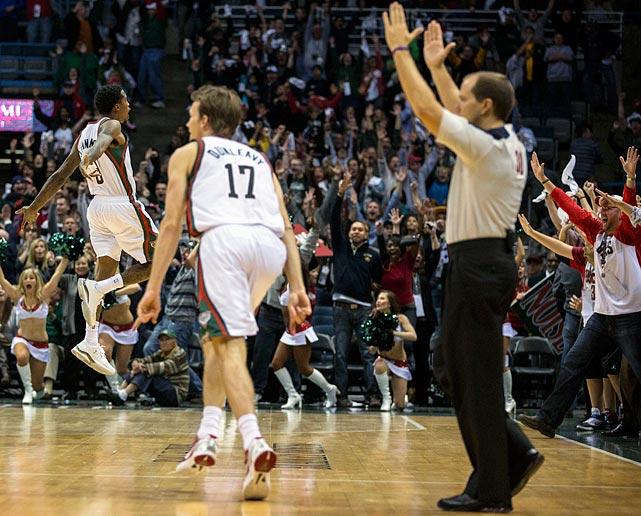 Cleveland and Milwaukee were tied at 102-102 with the Bucks inbounding the ball with 0.7 seconds left. The Bucks' Jennings managed to free himself at the top of the key and get off a three-pointer before the buzzer to clinch a 105-102 victory.