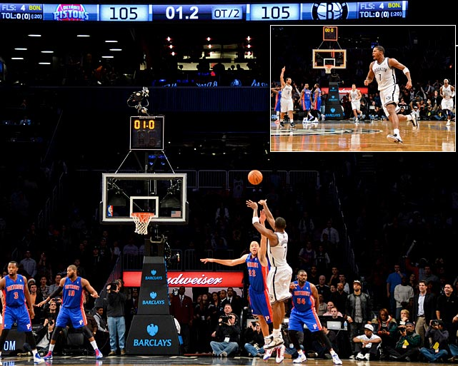 In the first of his two double-overtime game-winners this season, Johnson drilled a difficult step-back jumper from just inside the three-point line to push Brooklyn past Detroit 107-105. Johnson's J over Tayshaun Prince was the Nets' first buzzer-beating victory since 2009.
