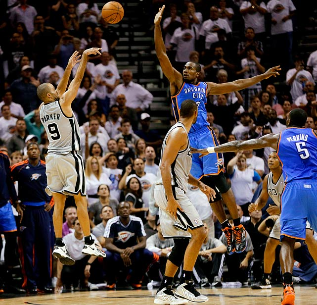 Parker converted a 21-footer from the left wing as time expired to lift the Spurs past the Thunder 86-84 in San Antonio, spoiling Oklahoma City's season opener in a rematch of the 2012 Western Conference finals.