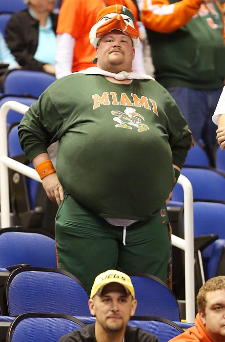 One of Miami's biggest fans enjoys a pregnant pause in the title game against North Carolina.