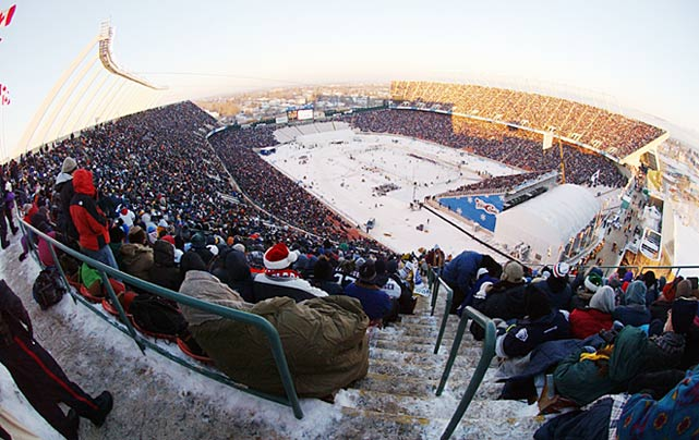 Commonwealth Stadium in Edmonton hosted the NHL's first-ever outdoor game, with 57,167 hardy souls braving -20 degree temperatures on November 22. The event was intended to be a one-off.