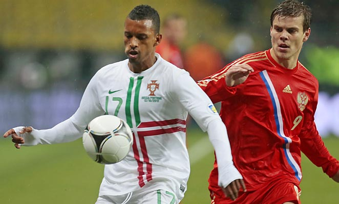 Nani (left) and Portugal will not make the World Cup if the standings hold.