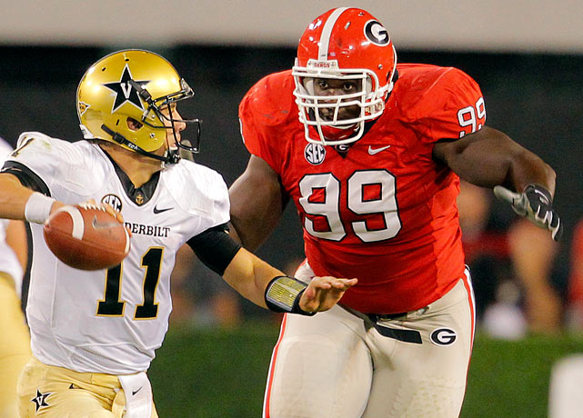 Limited to part of a rotation on Georgia's crowded defensive line, Geathers still got 40 tackles, five tackles for loss and one sack. He didn't help his stock in his most recent performances, getting shut down by Barrett Jones in the SEC Championship game and failing to impress at the combine. The 6-5, 342-pounder brings a lot of power to the nose tackle position but needs to be more consistent with his technique.