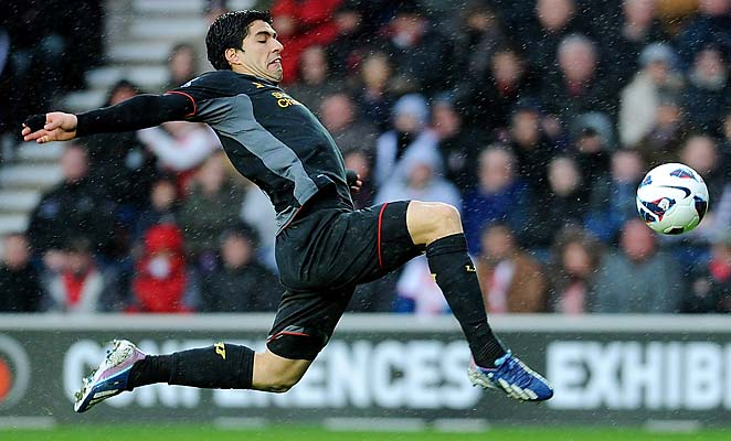 Luis Suarez leads the Premier League with 22 goals this season.