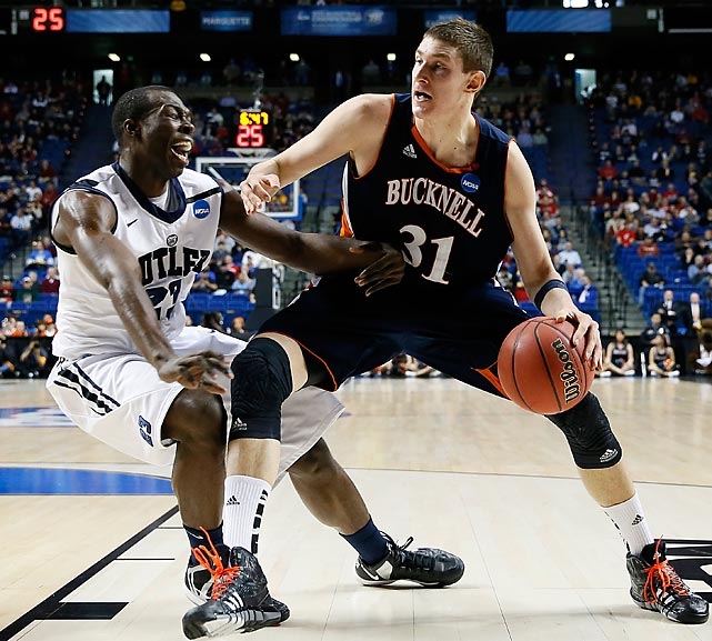 Mike Muscala, Bucknell's 6-11 center, led his team with 10 rebounds, but in terms of scoring he had a disappointing day. Despite averaging 19 points per game this season, Muscala went 4-for-17 from the field and finished with just 9 points.
