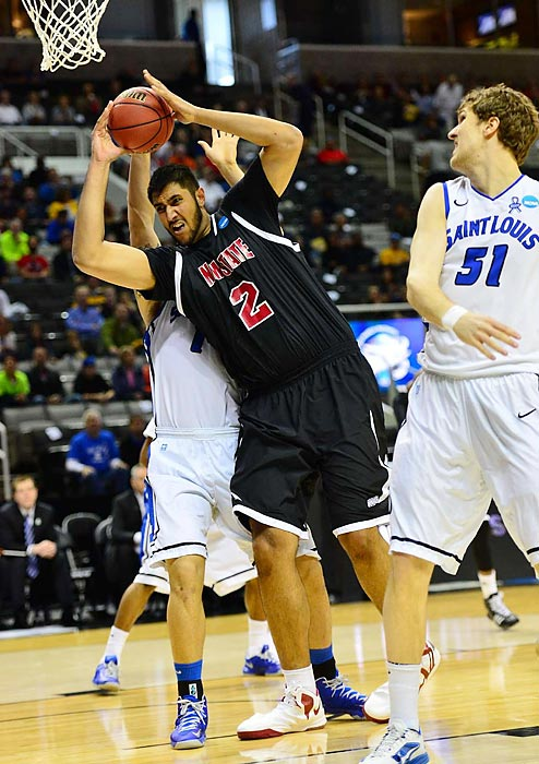 Freshman center Sim Bhullar battled under the hoop to pull down 11 rebounds for New Mexico State, but it wasn't enough to see his team through.