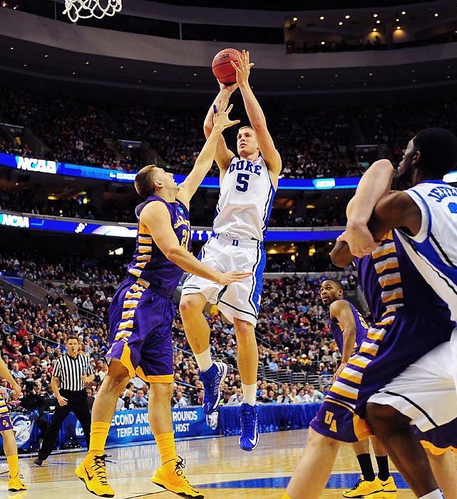Senior forward Mason Plumlee shoots against the Albany Great Danes in Duke's victory on Friday.