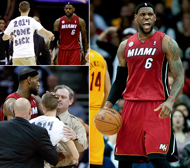 Two nights after wiping out a 17-point deficit at Boston, the Heat dug out of a 27-point hole on a wild night in Cleveland. A fan came onto the court to urge LeBron James to re-sign in Cleveland in 2014, a leaking scorecard caused a delay and the Heat somehow fell way behind a Cavs team playing without Kyrie Irving, Anderson Varejao and Dion Waiters. But Miami closed on a 58-28 run in the final 19 minutes, and James picked up another triple-double with 25 points, 12 rebounds and 10 assists. Entering the game, teams trailing by at least 27 points in the second half in the last 15 seasons were 5 and 2,013, according to ESPN.